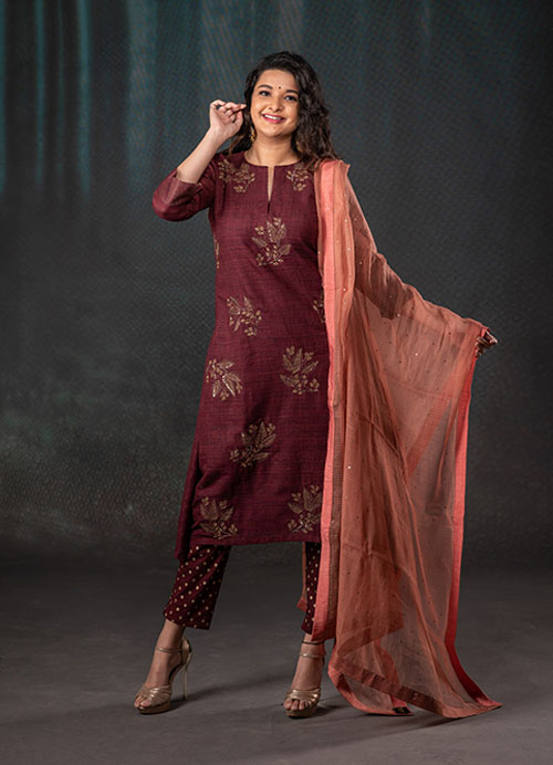 Maroon Cotton Embroidery Kurti With Stretchable Pants And Kota Dupatta
