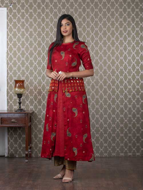 Maroon Cotton Koti Style Kurti with Mustard Printed Pants