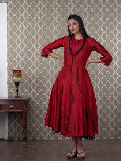 Maroon cotton Chanderi Two Piece Tye and Dye Kurti