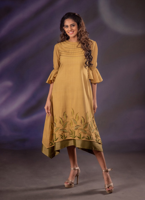 Natural Dyed Double Layered Kurti with Thread and Sequins Embroidery
