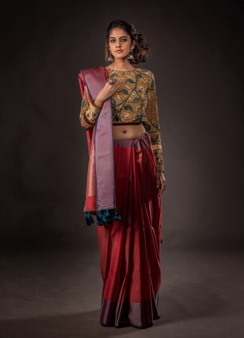 Natural Dyed Dual-Toned Cotton Silk Sari with Self Blouse