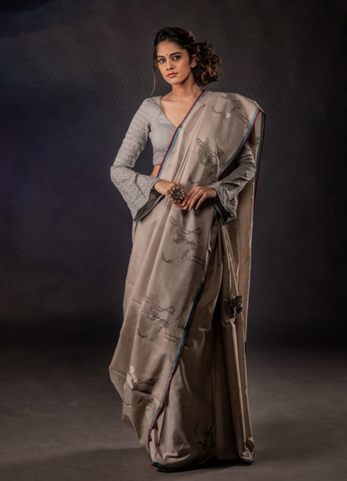 Natural Dyed Fine Cotton Sari with Flamingo Motifs and Self Blouse