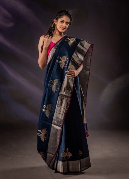 Natural Dyed Fine Cotton Sari with Self Blouse