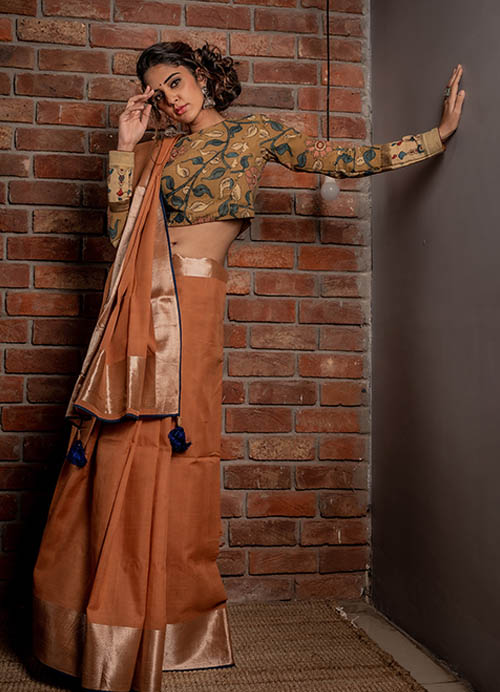Natural Dyed Fine Cotton Sari with Weaving and Self Blouse