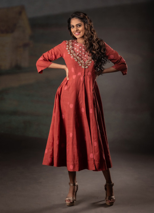 Natural Dyed Kurti Dress with Hand Embroidery