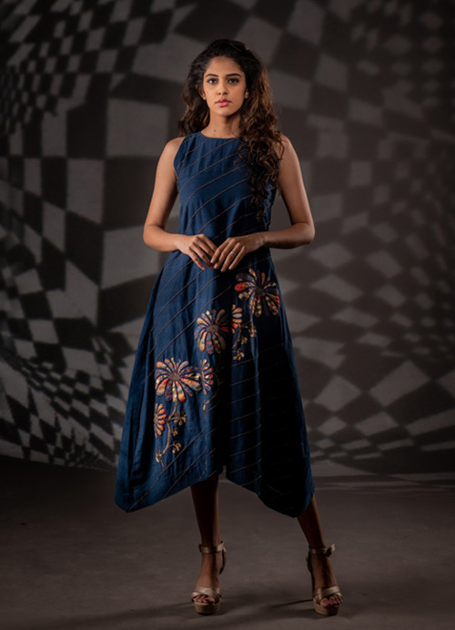 Natural Dyed Kurti Dress with Hand Embroidery and Sequins Work