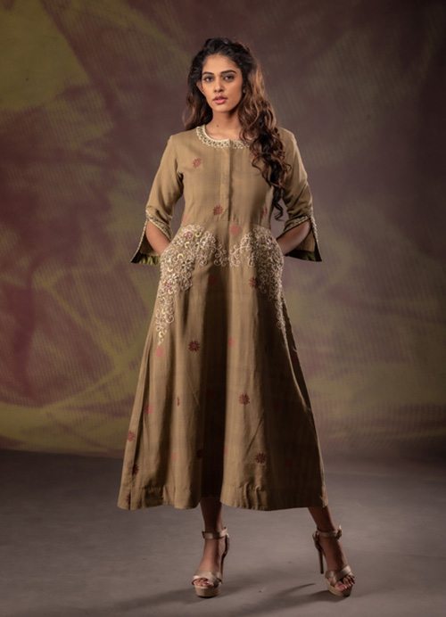 Natural Dyed Kurti Dress with Hand Embroidery and Sequins