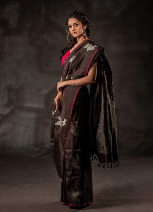Natural Dyed Pure Silk Sari with Bird Motifs and Self Blouse