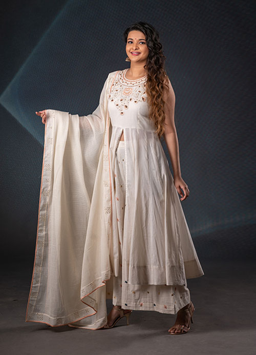Off-White Hand Embroidery Mal Cotton Anarkali with Kota Dupatta and Pants