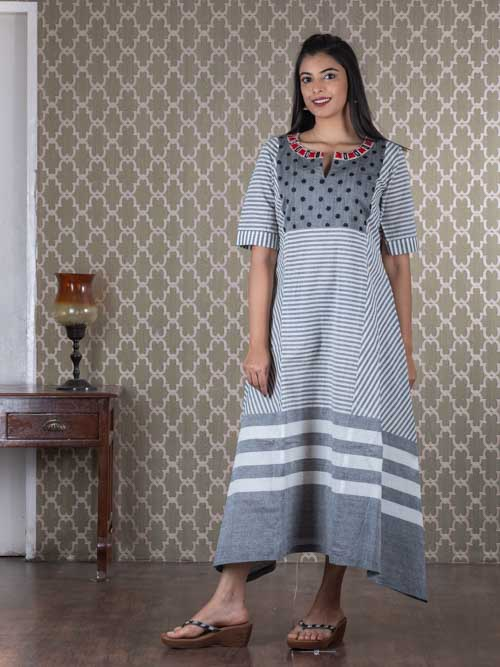 Off White and Grey Striped Cotton Kurti Dress
