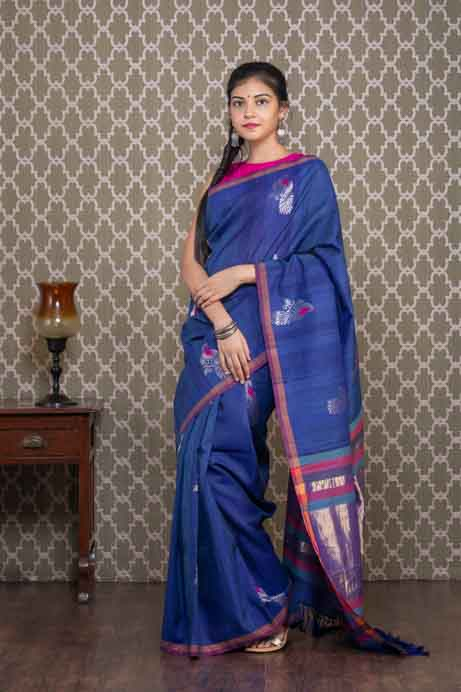 Organic Dyed Blue Cotton Saree with Silver Peacocks