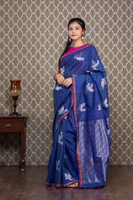 Organic Dyed Handloom Cotton Saree with Silver Bird Motives