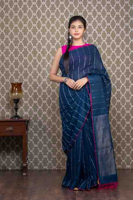Organic Dyed Indigo Blue Cotton Saree with Silver Lines