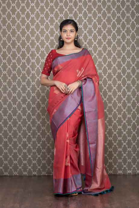 Organic Dyed Red Handloom Cotton Saree with Birds Motives