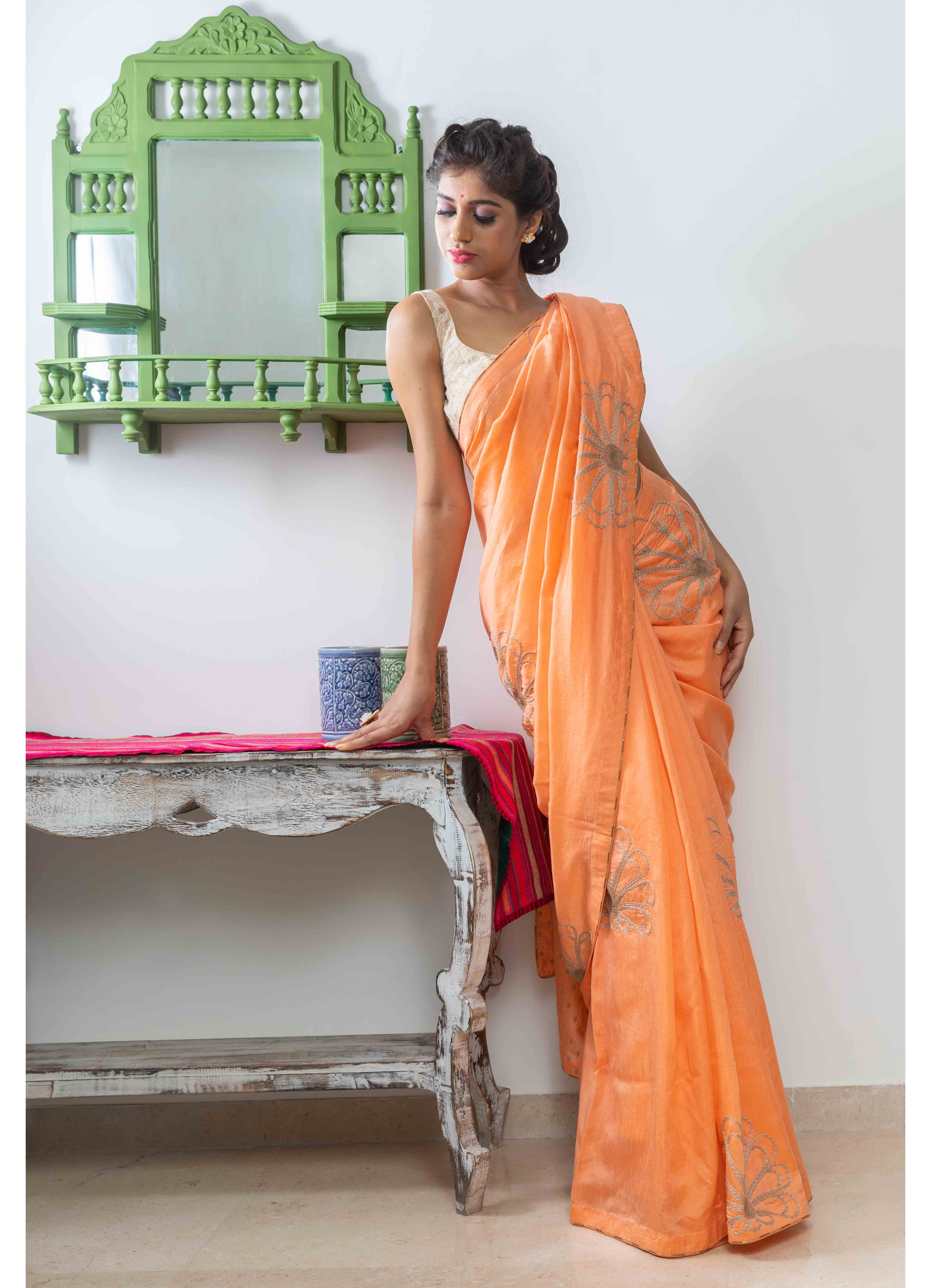 Peach Chanderi Saree with Beige Blouse