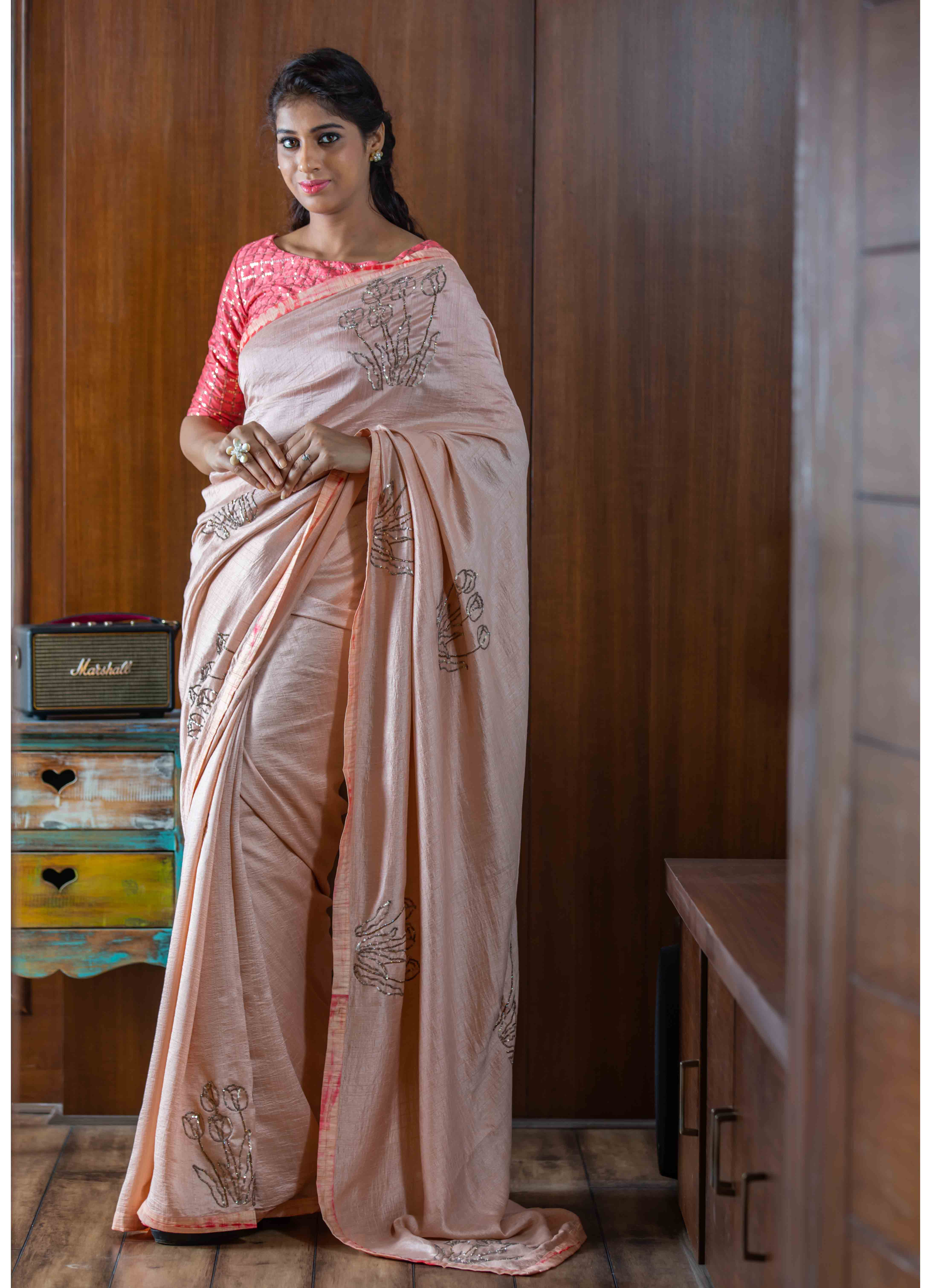 Peach Cheniya Silk Saree with Peach Blouse