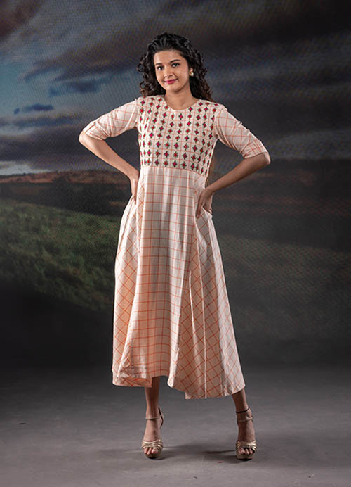 Peach Chequered Cotton Dress with Thread and Mirror Embroidery