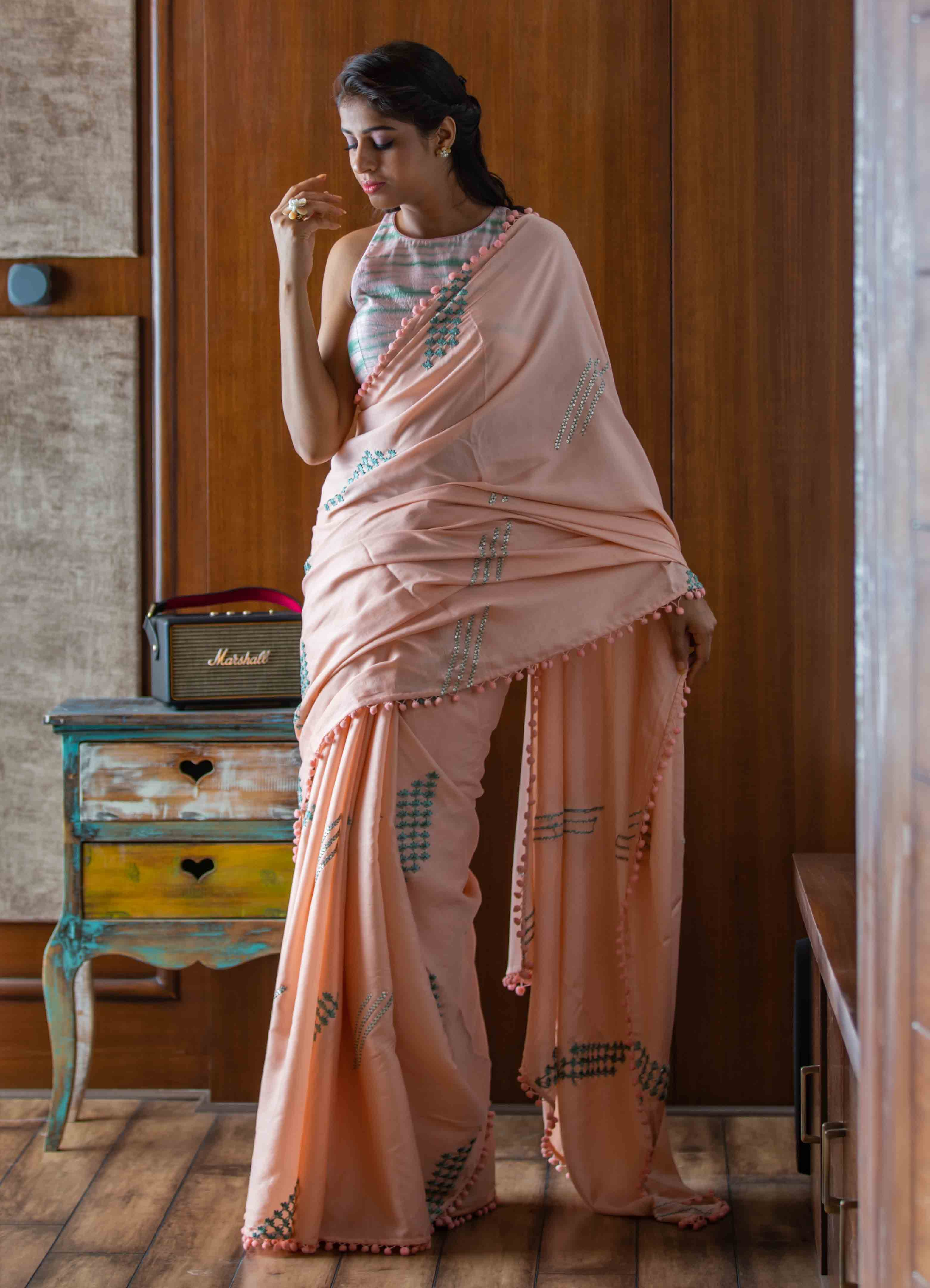 Peach Mumba Silk Saree with Tie-n-Dye Blouse