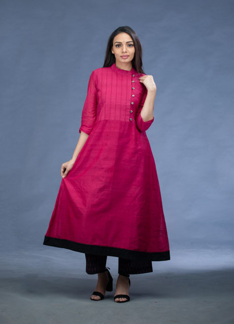 Pink Cotton A-Line Kurti with Printed Pants