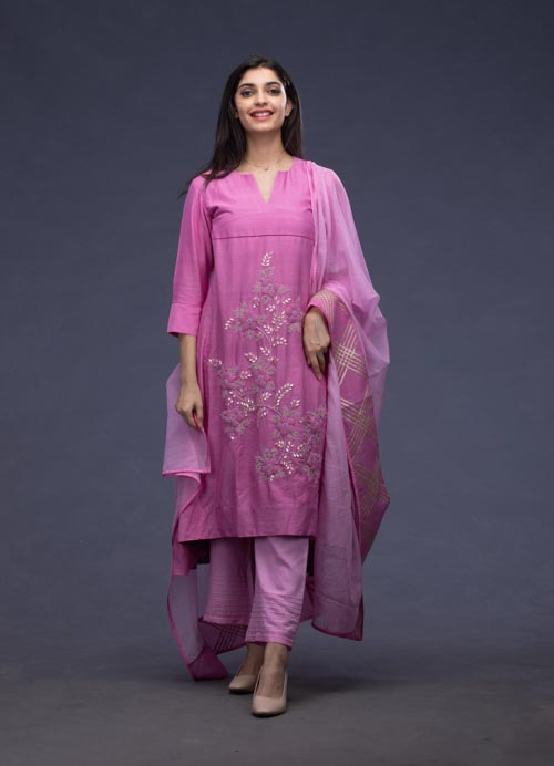 Pink Embroidered Kurti with Kota Dupatta and Pants