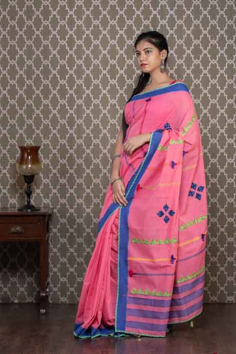 Pink Handloom Cotton Saree with Applique Embroidery