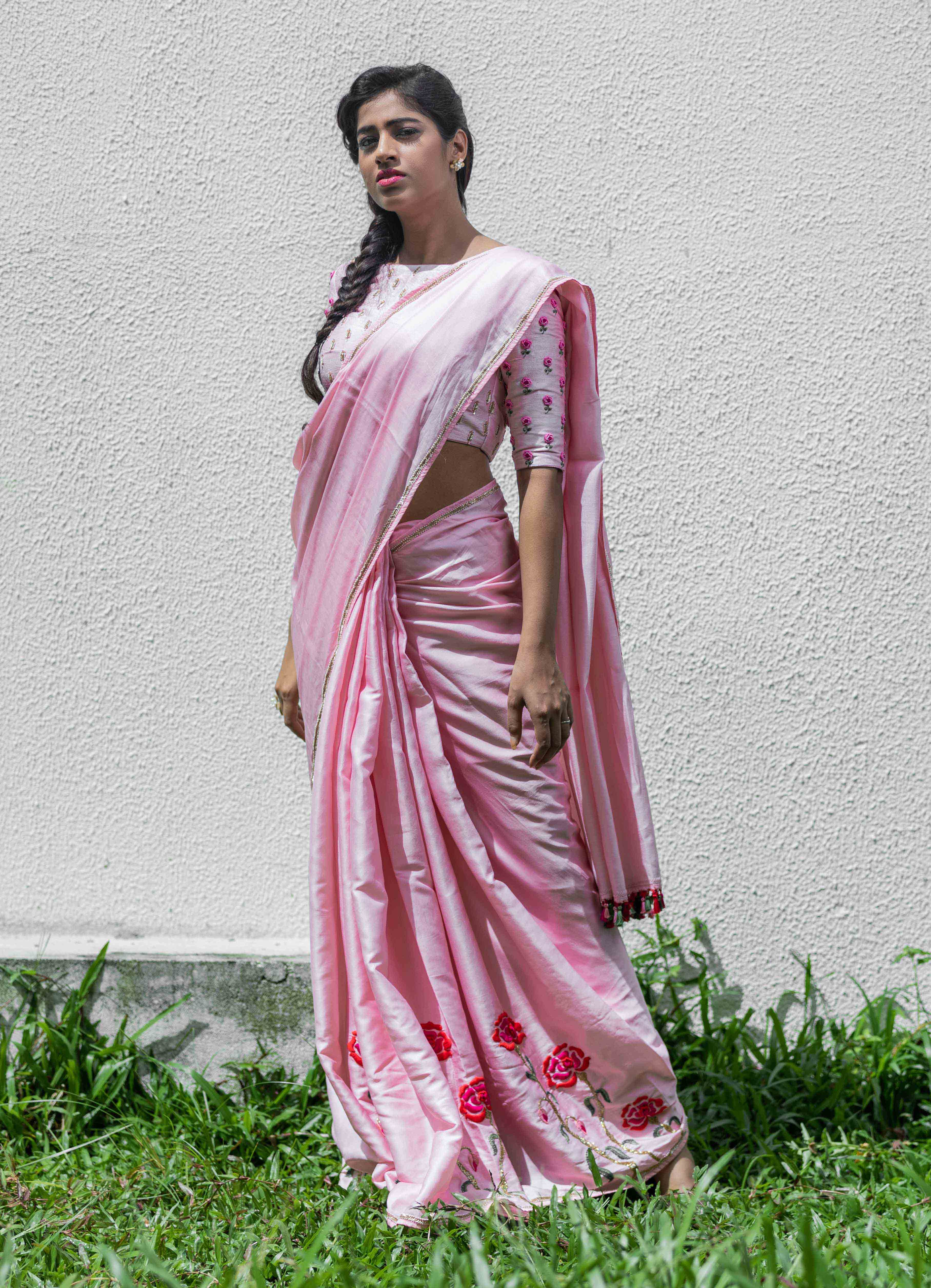 Pink Mumba Silk Saree with Self Blouse