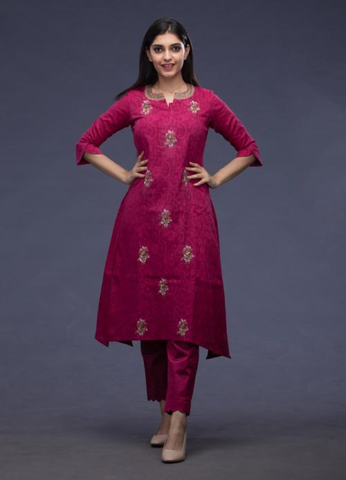 Plum Cotton Kurti with Hand Embroidery and Pants