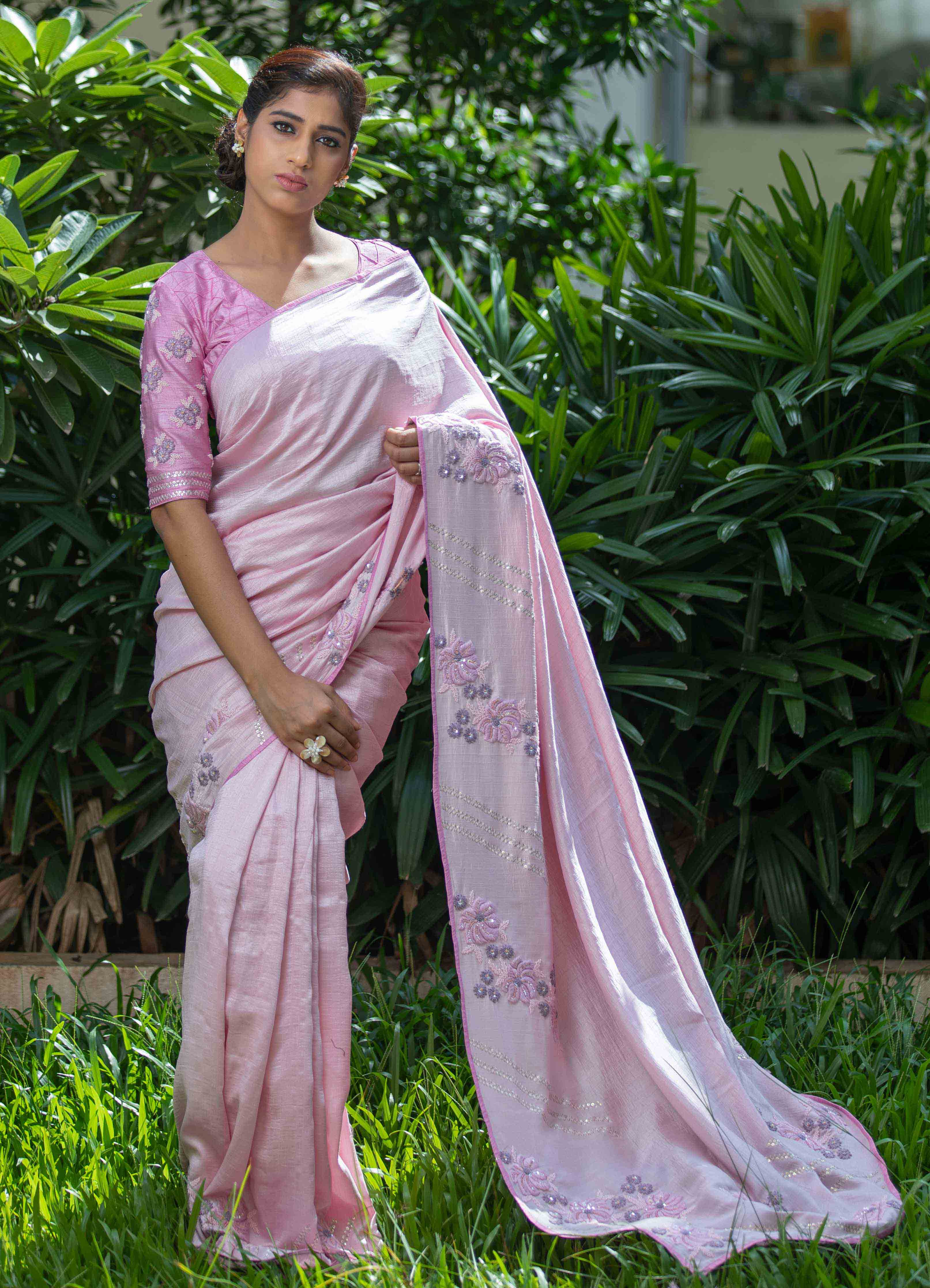 Powder Pink Cheniya Silk Saree with Self Coloured Blouse