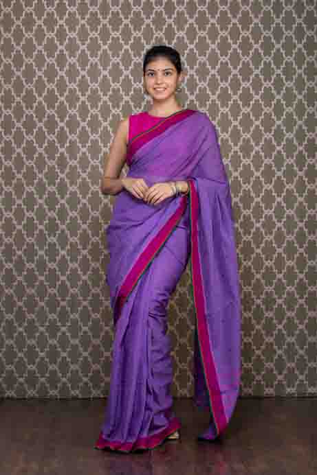 Purple Handloom Cotton Saree with Thread Embroidery