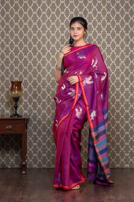 Purple Organic Dyed Handloom Cotton Saree with Bird Motives