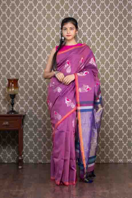 Purple Organic Dyed Handloom Cotton Saree with Zari Peacock Motives