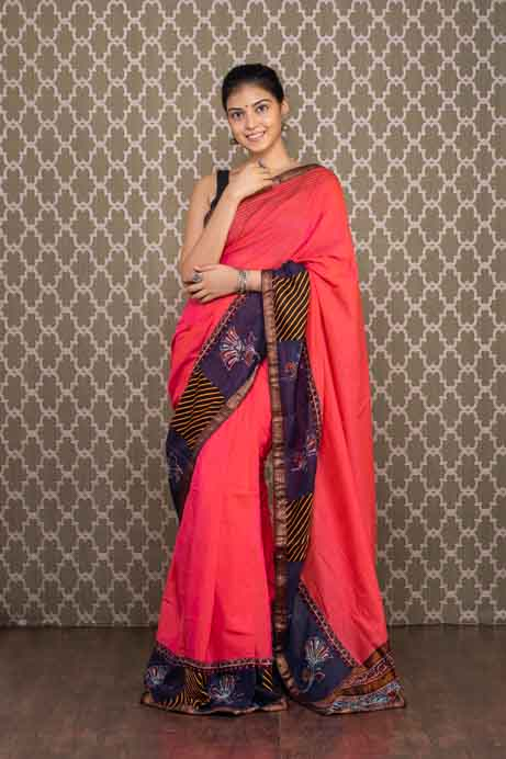 Red Handloom Cotton Saree with Batiq Printed Border