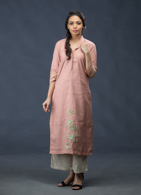 Salmon Pink Thread Embroidered Kurti