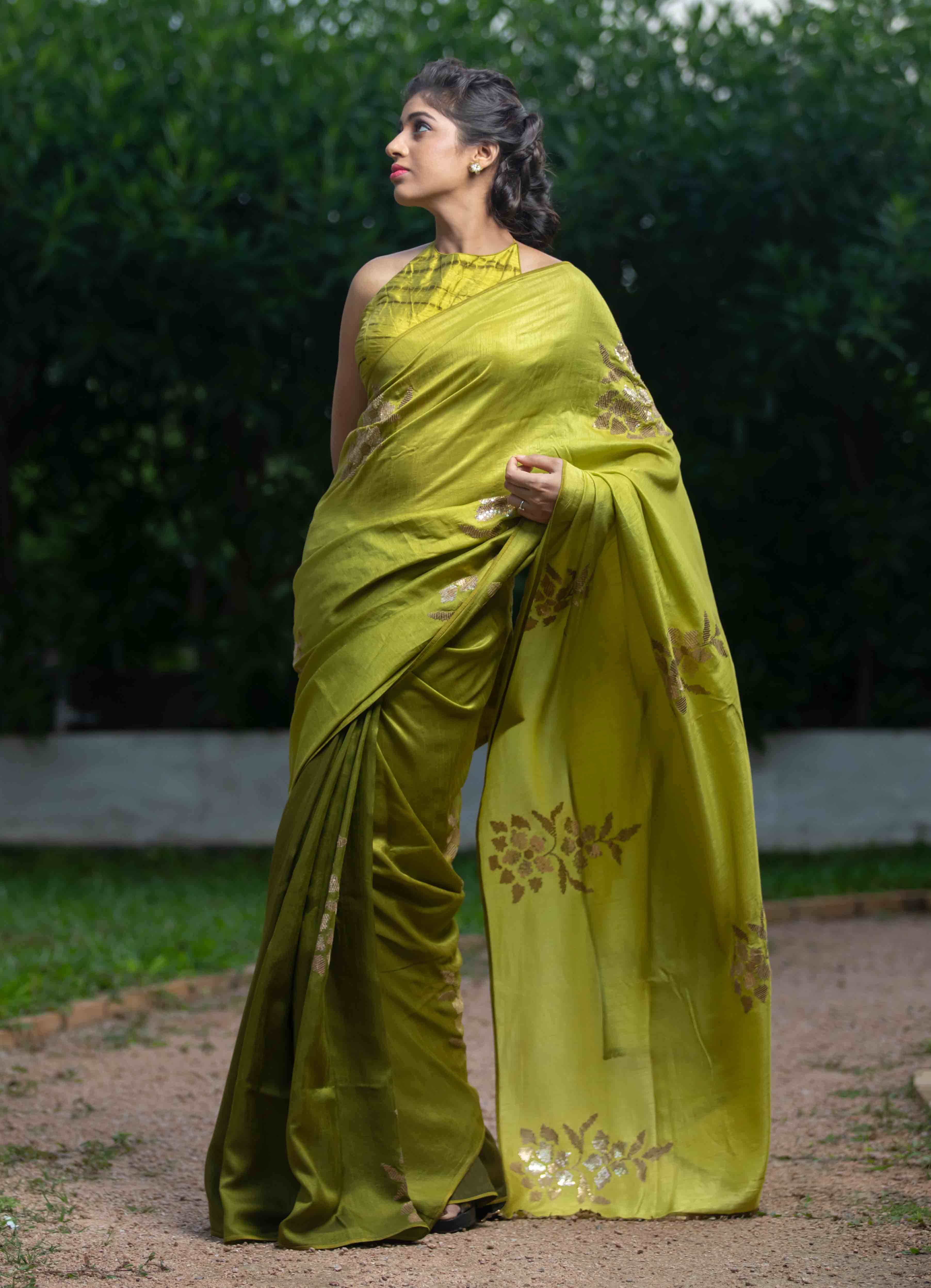 Shaded Green Moonga Silk Saree with Tie-n-Dye Blouse