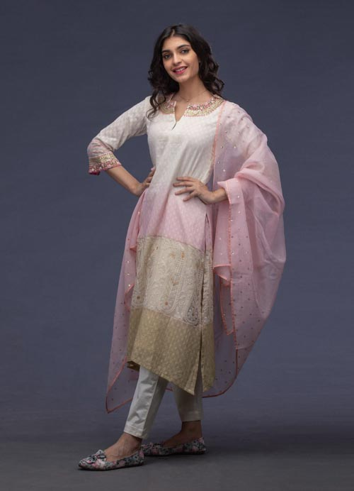 Shaded White - Pink Kurti Set with Hand Embroidery