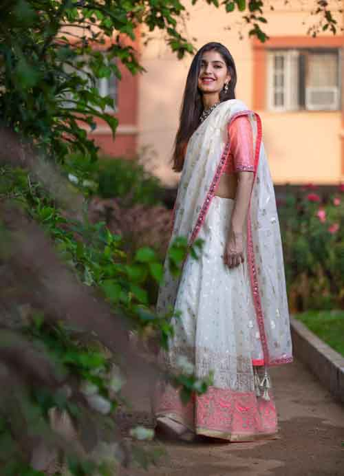 White - Pink Lehenga Set with Thread and Mirror Embroidery