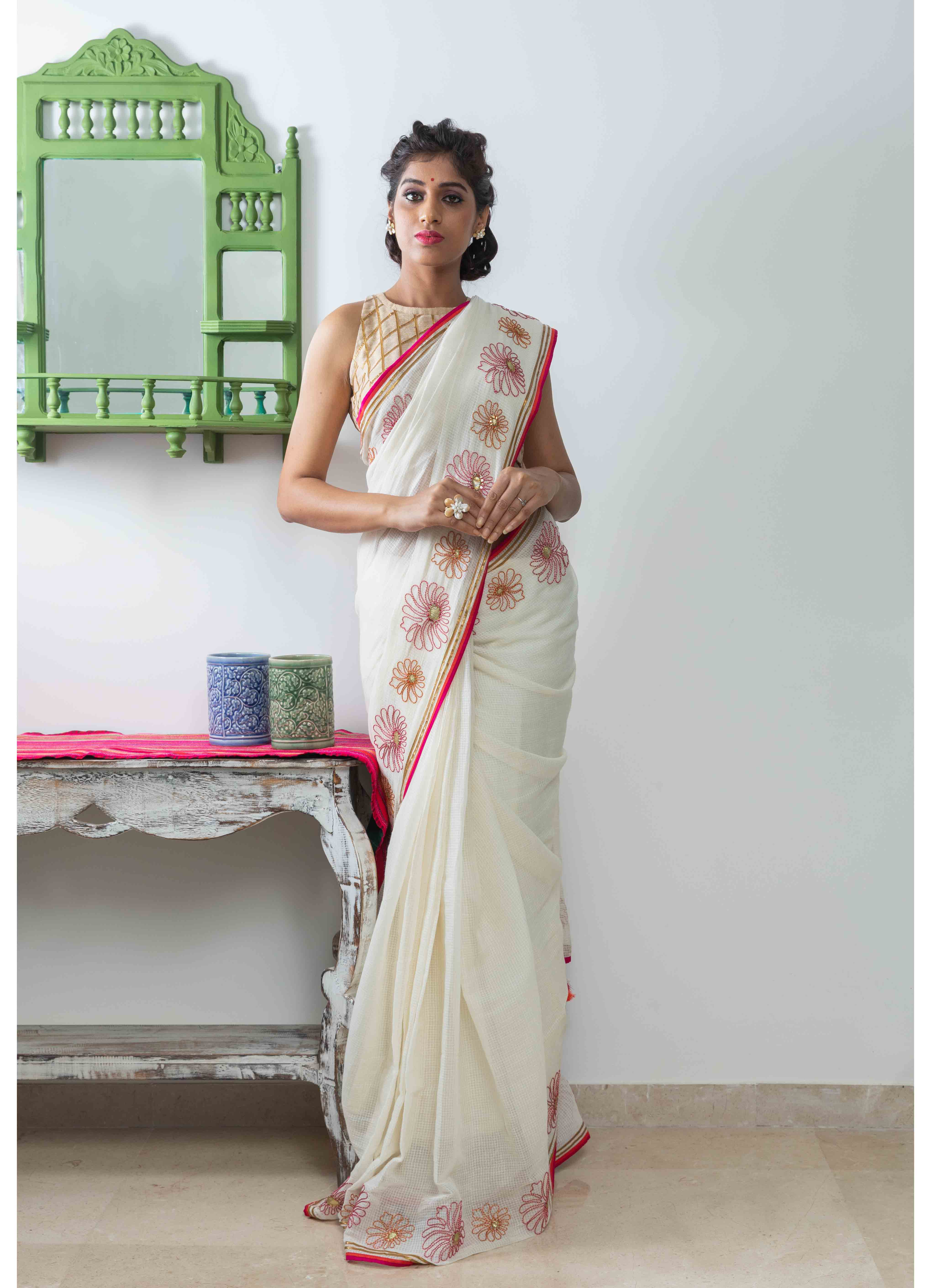 White Moonga Kota Saree with Contrast Golden Blouse