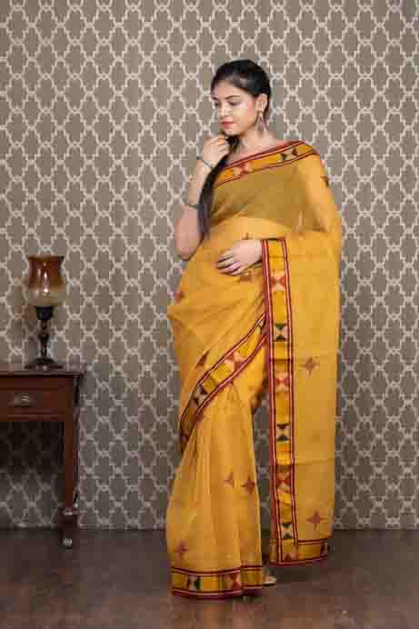 Yellow Cotton Kota Saree with Thread Embroidery