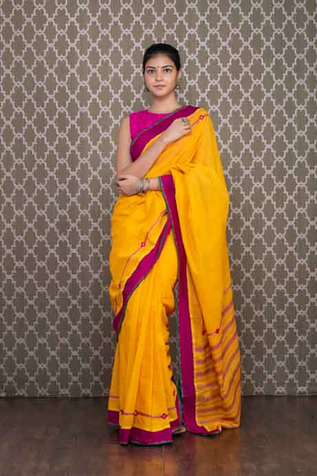 Yellow Handloom Cotton Saree With Pink Thread And Mirror Embroidery