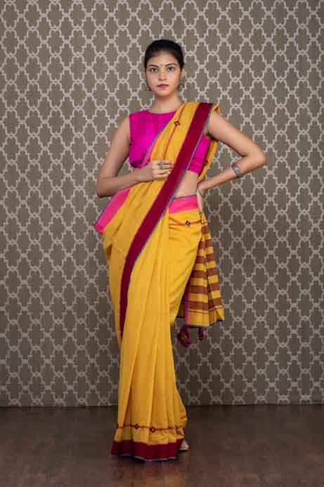 Yellow Handloom Cotton Saree with Red Thread and Mirror Embroidery