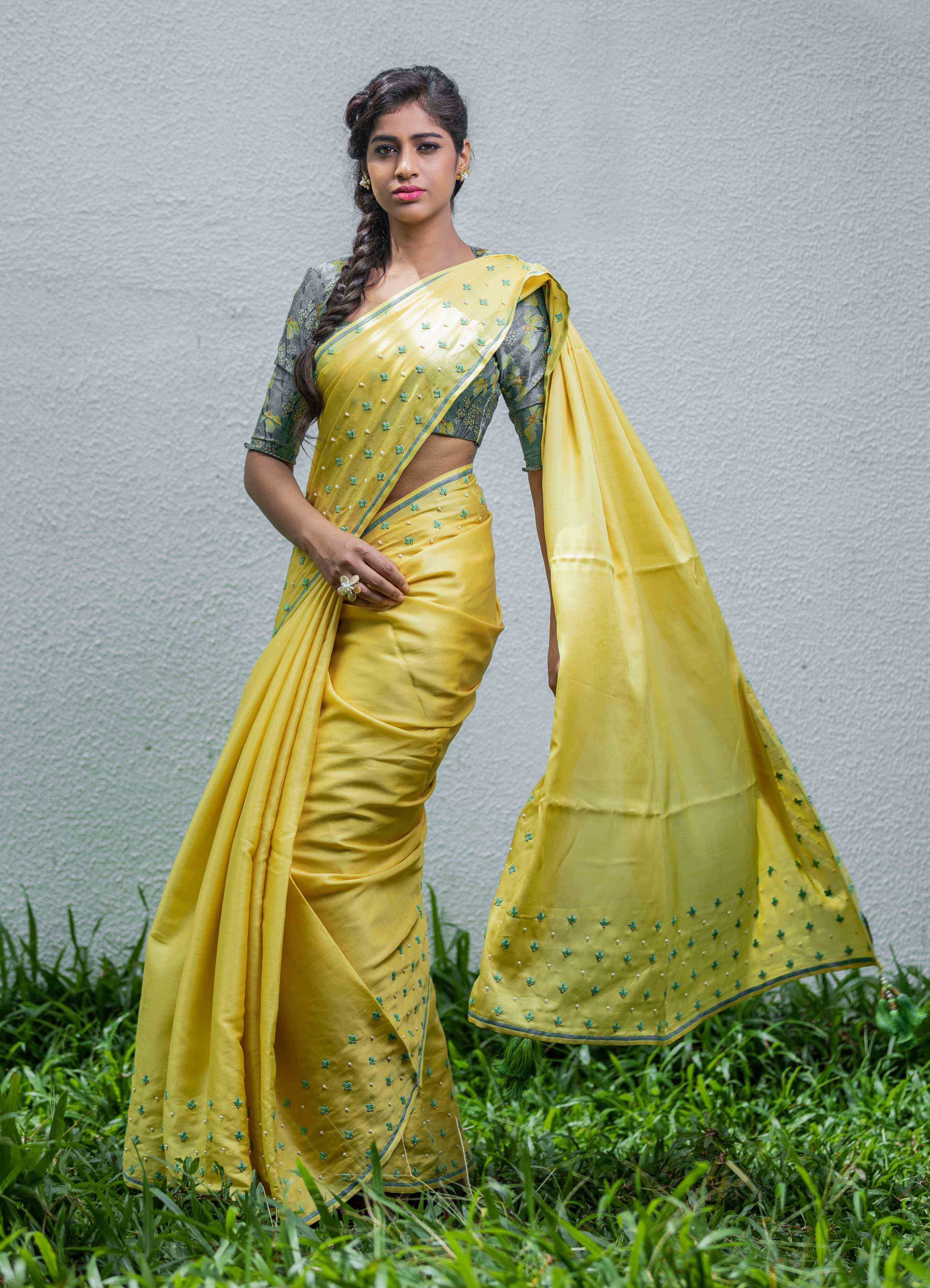 Yellow Mumba Silk Saree with Floral Blouse