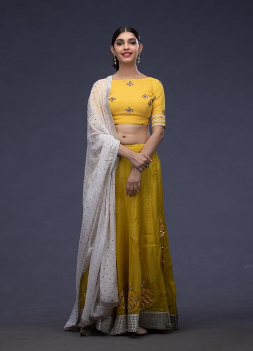 Yellow Organza Lehenga Set with Thread and Mirror Embroidery