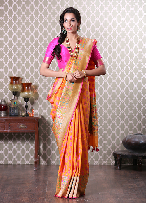 Yellow Banarasi Saree with Floral Border