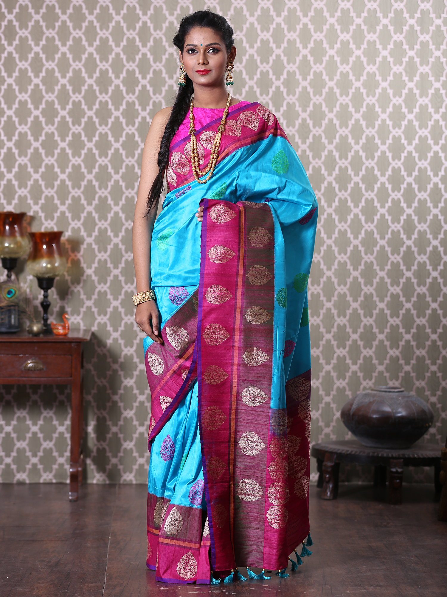 Blue Banarasi Saree with Wine Border