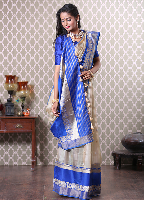 Grey Banarasi Kora Saree with Blue Border